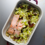 One-tray recipe Salmon with leek from More Than Just Carrots